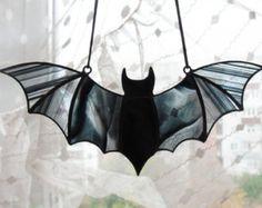 Halloween Window Decoration Stained Glass Bat by WorkshopOfCharm