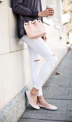 White distressed denim | peach mini bucket bag | Grey long-sleeved tee | pink ballet flats