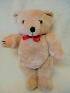 "Vtg Jointed Teddy Bear Plush 9""  Stuffed Toy Light Beige"