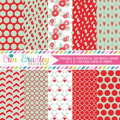 Mint and Red Valentines Day Digital Papers – Erin Bradley/Ink Obsession Designs