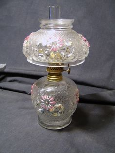"Antique Cosmos pattern glass Miniature Oil Lamp with Chimney & Shade  8"" tall"
