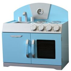 This Blue Retro Toy Play Kitchen is beautifully made. Unique in it's retro design this childrens toy kitchen will create an exciting play experiences for toddlers and kids aged 2 – These play kitchen toys consist of a play stove Childrens Play Kitchen, Kids Toy Kitchen, Wooden Toy Kitchen, Pretend Kitchen, Wooden Toys, Kitchen Retro, Kids Cubbies, Retro Toys, Kids Corner