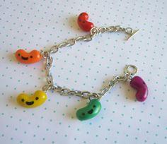 Cute Jelly Bean Polymer Clay Charm Bracelet