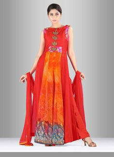 Make the heads turn after you costume up in this georgette salwar suit. You will…