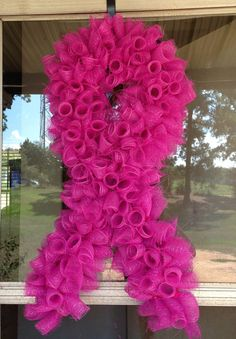 Pink Support Deco Mesh Ribbon Wreath on Etsy, $40.00