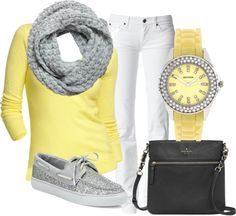 "Love the yellow!! Love the sparkly Sperry's more!! ""44"" by yellowlace on Polyvore"