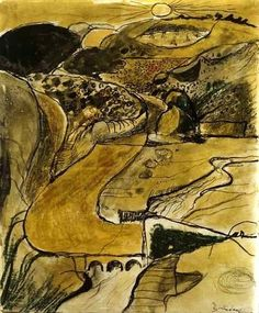 """usedtolivethere: """" yama-bato: """" Pembrokeshire Landscape - Valley above Porthclais (Wales, GRAHAM SUTHERLAND here """" looks like a peaceful valley. Landscape Drawings, Abstract Landscape, Landscape Paintings, Landscape Sketch, Leicester, Gouache, Modern Art, Contemporary Art, English Artists"""