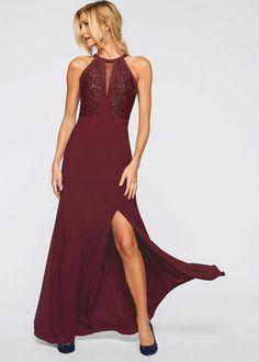 Bordowa sukienka wieczorowa z koronką i cekinami // Długa suknia wieczorowa  #długie suknie wieczorowe, #suknie wieczorowe, #długie sukienki na wesele Pin Up, Elegant, Formal Dresses, Outfits, Clothes, Style, Fashion, Sequins, Dapper Gentleman
