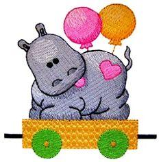 ch111 - Circus Hippo Machine Embroidery Design