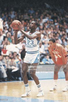 North Carolina Michael Jordan (23) in action, taking foul shot vs Virginia, Chapel Hill, NC 1/9/1982