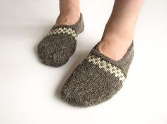 Hand Knitted Patterned Slippers  Winter Home Comfort  by milleta