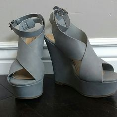 Gray wedges Brand new never been worn gray wedges with ankle strap Shoes Wedges