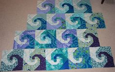 This is a cool way to do this snail trail block.