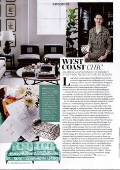 Design in Print│ Vogue Living October 2013 featuring the Diane Bergeron for Arthur G Collection