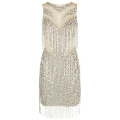 Jovani Embellished Fringe Detail Dress ($2,350) ❤ liked on Polyvore featuring dresses, white sleeveless dress, sequin dresses, mesh dress, white sequin dress and white beaded cocktail dress