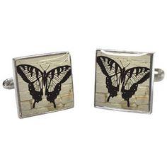 Tyler and Tyler White Brick Butterfly Cufflinks - Cream/Black/Silver | Tyler and Tyler Cream Cufflinks | KJ Beckett