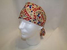 TEXAS  Light Background Tie Scrub Hat by TipTopLids on Etsy, $10.00