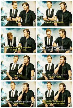 Tom Hiddleston & Chris Hemsworth