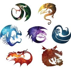 Dragon classification icons (R to L, top to bottom): Fear, mystery, sharp, strike, tidal, stoker, and boulder.