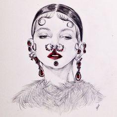 Done!  @givenchyofficial @riccardotisci17 #givenchy #aw2015 #fashion #FashionIllustration #illustration #connielim #art @fkatwigs