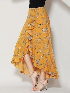 Yellow Floral Print Ruffle Asymmetric Hem Wrap Tulip Skirt Woven fabric Mid-rise waist All over floral print Wrap front design Ruffle trim Hand wash SEE DETAILS. Knit Skirt, Ruffle Skirt, Dress Skirt, Ruffle Trim, Maxi Skirts, Long Floral Skirts, Wrap Skirts, Chiffon Skirt, Floral Maxi