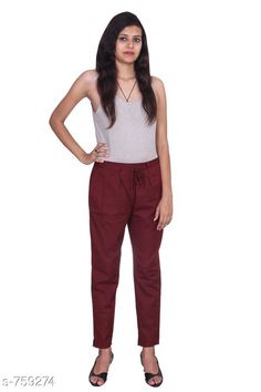 Checkout this latest Women Trousers Product Name: *Stylish Cotton Flex Women's Pant* Fabric: Cotton Flex  Waist Size: S- 22 in to 26 in M - 26 in to 30 in L - 30 in to 34 in XL - 34 in to 38 in XXL - 38 in to 42 in 3XL- 42 to 46 in Length: Up To 40 in           Type: Stitched Description: It Has 1 Piece Of Women's Pencil Pant Pattern: Solid Country of Origin: India Easy Returns Available In Case Of Any Issue   Catalog Rating: ★4 (455)  Catalog Name: Stylish Premium Cotton Flex Pencil Pants Vol 1 CatalogID_86466 C79-SC1034 Code: 123-759274-957