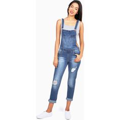 MONKEY RIDE Paradox Denim Overalls ($40) ❤ liked on Polyvore featuring jumpsuits, blue overalls, denim overalls, bib overalls, denim jumpsuit and denim bib overalls