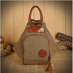 10e779dcf48 Women Canvas Tassel Backpack Casual Diagonal Handbags Multi Functional  Shoulder - US 19.99 Canvas Shoulder Bag