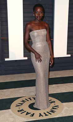 Lupita's outfit change postceremony made our jaws drop. The actress was a vision in this Calvin Klein Collection dress, Nicholas Kirkwood shoes, and jewelry by Chopard.