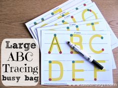 Large ABC Tracing Busy Bag (1 of 5 Dry Erase Busy Bag Ideas) 31 Days of Busy Bags & Quiet Time Activities @ AllOurDays.com