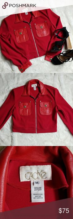 {Caché} Vintage Cropped Jacket Absolutely amazing red cropped jacket from Cache.  Vintage, polyester-like material with genuine leather. In pristine condition. Size Large, I'm modeling in pic and I'm a size 10.  Comes with shoulder pads. Offers welcome. Cache Jackets & Coats