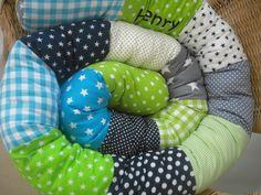 Nestchen - Bettschlange* Grün/Türkis/Dunkelblau/Grau* - ein Designerstück von LaLeLuDesign bei DaWanda