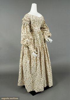 Augusta Auctions, November, 2007 -Tasha Tudor Historic Costume Collection, Lot 308: Printed Cotton Day Dress, C. 1838