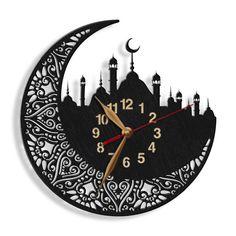 Islamic Mosque BIG Arabic Digits Wood Wall Clock LARGE Non-ticking, Muslim Moon, Muslem tracery, Islamic Symbol Clock Art, Diy Clock, Clock Ideas, Wall Clock Design, Moon Photography, Wood Clocks, Quartz Clock Mechanism, Large Clock, Islamic Art
