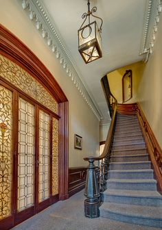 Brooklyn Clinton Street brownstone Victorian interior bannister foyer woodwork