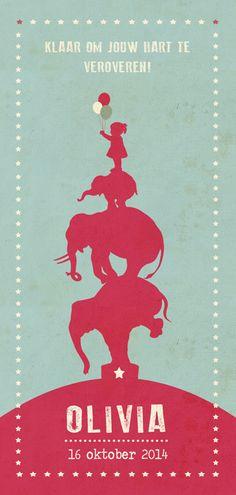 Geboortekaartje Olivia - Pimpelpluis - https://www.facebook.com/pages/Pimpelpluis/188675421305550?ref=hl (# olifant - olifantje - silhouet - ster - sterren - vintage - cirkus - circus - retro - dieren - poster - ballon - ballonnen - origineel)