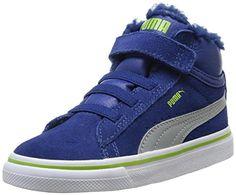 Puma Mid Vulc FUR V Kids 354143, Unisex - Kinder Hohe Sneakers, Blau (Bleu (Limoges/Gray/Lime Green)), 21 EU (4.5 Kinder UK) - http://on-line-kaufen.de/puma/21-eu-puma-mid-vulc-fur-v-kids-354143-unisex-kinder-4