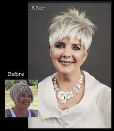 Before and after … bettjemans hairdressers auckland Funky Short Hair, Short Choppy Hair, Short Hair Cuts, Short Hair Styles, Pixie Hairstyles, Pixie Haircut, Cool Hairstyles, Haircut Style, Before After Hair