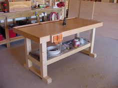 Woodworking Shop Building a simple work bench will teach you how to build that woodworking bench you've been wanting. Woodworking Jigsaw, Woodworking Workbench, Woodworking Classes, Popular Woodworking, Woodworking Furniture, Woodworking Crafts, Woodworking School, Woodworking Machinery, Workbench Plans