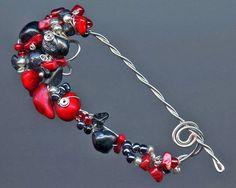Shawl Pin Coral Black Pearls Black Jasper by TrishDesignsJewelry
