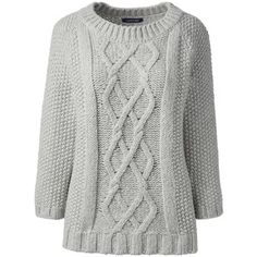 Lands' End Women's Petite Wool Blend 3/4 Sleeve Sweater - Aran