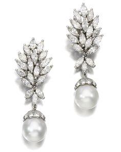 PAIR OF CULTURED PEARL AND DIAMOND EAR CLIPS.  Each surmount set with marquise- and brilliant-cut diamonds, suspending a detachable cultured pearl drop.