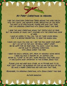 My First Christmas In Heaven - In memory of the loved ones who have passed on.