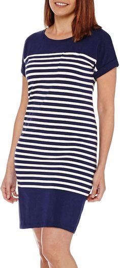 LIZ CLAIBORNE Liz Claiborne Short-Sleeve Striped Shirt Dress