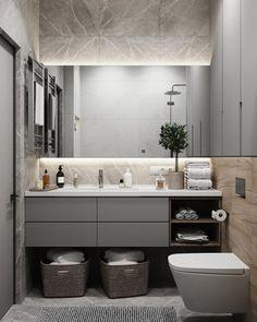 Fürdőszoba ötletek: a tükör mögé rejtett világítás (LED-szalag) nem csak ötletes mego… Bathroom Design Luxury, Modern Bathroom Design, Bathroom Mirrors, Toilette Design, Modern Small Bathrooms, Modern Toilet, Bathroom Design Inspiration, Vanity Design