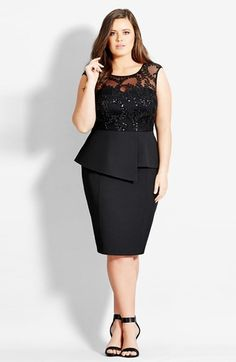 Plus Size Dress - City Chic Sequin Peplum Dress #plus #size #fashion