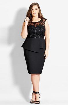 Plus Size Dress - City Chic Sequin Peplum Dress #plus #size #fashion