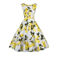 daa87e2f96f Click to Buy    Hot Lemon Print floral 50s 60s Vintage Dresses Audrey