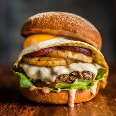 This is missing grilled onions, mushrooms & bacon - then it would be perfect! Burgers Done Right the Down-Under Way | FWx