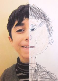 8 Half Self Portraits Project by Hannahs Art Club.